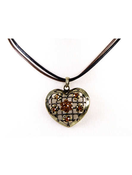 Bavarian necklace antique heart with stones (K19)